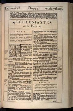 Ecclesiastes Chapter 1 Original 1611 Bible Scan, courtesy of Rare Book and Manuscript Library, University of Pennsylvania