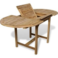Wooden Extendable Dining Table Outdoor Garden Patio Furniture Teak Wood NEW