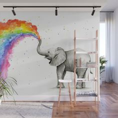 Baby Elephant Spraying Rainbow Wall Mural by olechka - Buy Baby Elephant Spraying Rainbow Whimsical Animals Wall Mural by olechka. Kids Wall Murals, Kids Wall Decor, Baby Room Decor, Disney Wall Murals, Playroom Mural, Rainbow Bedroom, Rainbow Wall, Rainbow Room Kids, Baby Zimmer Ikea