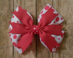 Pink Polka Dot Hair Bow  Valentines Day by KathrynsRainBOWtique, $5.00