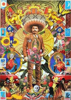 mexican culture My Zapata Mexican Artwork, Mexican Paintings, Mexican Folk Art, Art Pop, Illustration Photo, Illustrations, Latino Art, Mexico Art, Aztec Art