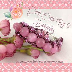Beaded Bracelet Pink Cats Eye Gemstone Burgundy Seed Beads Flat Spiral Bangle. .... #Handmade by @ntonelli