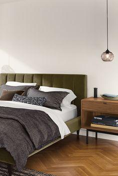 Room & Board - Hartley Bed with Hensley Nightstands Modern Bedroom Furniture, Contemporary Bedroom, Bed Furniture, Furniture Market, Apartment Furniture, Room Ideas Bedroom, Bedroom Decor, Bedroom Inspo, Master Bedroom