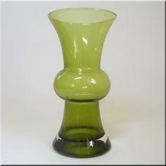 Riihimäen Lasi Oy / Riihimaki green glass vase, designed by Tamara Aladin, 200mm tall. Finland