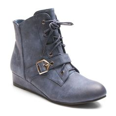Kisses by 2 Lips Too Too Scope Women's Wedge Ankle Boots, Girl's, Size: medium (7.5), Dark Blue