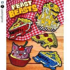 #Repost @patchgame with @repostapp  FEAST BEASTS Pins from @Zombiebacons.  Available now in His online store Click the shop link in his bio and check them all out today. .  #zombiebacons #cupcake #pies #pizza #slice #crust #cheese #junkfood #fastfood #pin #pins #lapelpin #lapelpins #enamelpin #enamelpins #pinsofig #pinstagram #hatpin #hatpins #pingame #softenamel #hardenamel #patchgame #IG # by cult.of.cthulhu