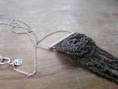raw azurite specimen crochet oxidized silver necklace ooak