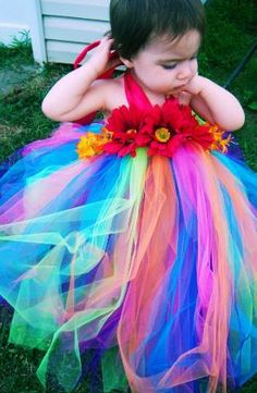 Rainbow Flower Girl Dress - http://casualweddingdresses.net/rainbow-wedding-dress-the-ideal-somewhere-over-the-rainbow-wedding-dream/