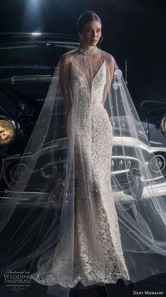 dany mizrachi fall 2018 bridal sleeveless spaghetti strap deep plunging sweetheart neckline full embellishment elegant fit and flare wedding dress v back sweep train (13) mv -- Dany Mizrachi Fall 2018 Wedding Dress | Wedding Inspirasi #wedding #weddings #bridal #weddingdress #bride ~