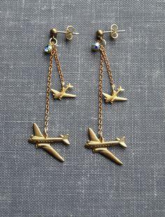 AIR TRAFFIC CONTROL Brass flying airplane earrings by owlandlark
