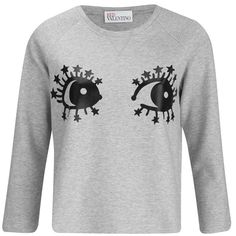 REDValentino Women's Eyes T- Shirt - Grey ($125) ❤ liked on Polyvore featuring tops, t-shirts, grey, red valentino top, grey tee, gray top, gray t shirt and red valentino