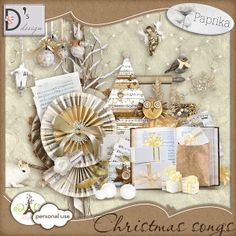 Description:    Some gold, songs, magic...  A dazzling mega-kit to glorify the memories of your most beautiful Christmas, by Doudou's Design and Paprika     This kit contains:    34 papers, 162 elements and 16 wordarts !!!