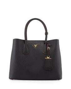 Saffiano Cuir Medium Double Tote Bag, Black