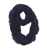 Popcorn Stitch Fringed Infinity Scarf - Crafted with playful popcorn stitching and ribbed details - and finished with a sweep of fringe - this super soft piece is a total treat to wear.