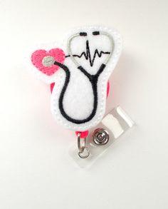 Stethoscope EKG Pink  Retractable Badge Reel  Name by BadgeShack