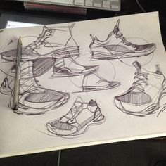 Daily Sketches from Industrial Designer, Spencer Nugent - Page 77 Shoe Sketches, Sketch A Day, Drawing Skills, Designs To Draw, Industrial Design, Designer Shoes, Behind The Scenes, Concept, Drawings
