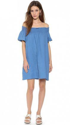 Apiece Apart Crete Off-The-Shoulder Smocked Neck Dress in Aegean