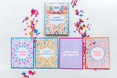 Life Is A Party Collection - Set of 8 - Letterpress Card Box Set + Confetti by The Confetti Bar  Card designs by Hartford Prints!