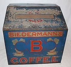 Biedermann's B Coffee Vintage Tins, Vintage Coffee, Vintage Metal, Store Counter, Counter Display, Coffee Tin, Tin Containers, Coffee Packaging, Letter B