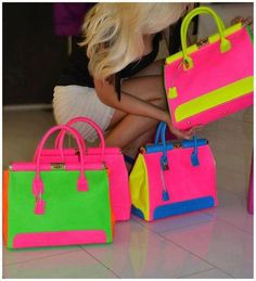 Discovered by Elaf. Find images and videos about pink, bag and neon on We Heart It - the app to get lost in what you love. Beautiful Handbags, Beautiful Bags, Artist Bag, Neon Bag, Cute Purses, Glamour, Neon Colors, True Colors, Bright Colors