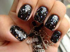 черный маникюр, дизайн ногтей, nail art manicure, design, нейл арт, блестки