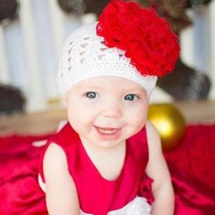 White Hat and Red Lace Flower Crochet Flower Baby Girl Hat #Melondipity