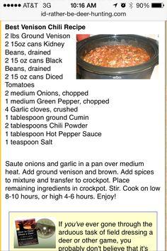 Simple and easy deer chili Macros- serves 8, C/45g F/4g P/48g