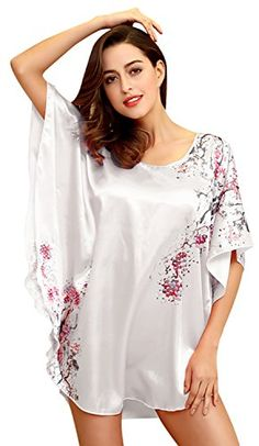 Bellady Sexy Women's Plus Size Short Batwing Sleeve Nightgown,White