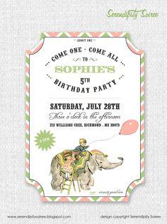 Vintage Circus ticket-style printable invitation, $15