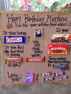 Birthday Posters with Candy for Candy Bars - Bing images Birthday Candy Posters, Candy Birthday Cards, 60th Birthday Party, Birthday Message, Birthday Crafts, Birthday Candy Grams, 50th Birthday Poems, Funny Birthday Gifts, Happy Birthday