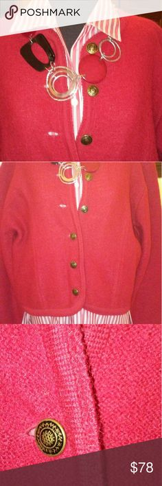 """Oh So British"" 100% Boiled Wool Jacket Red 100% boiled wool jacket. Croped length & fitted shape with darts. Bronze buttons (6) button front. Ribbed detail on sleeve cuff & neckline, lapel, around entire outer edge. Imported. Dry clean only. EUC. e Alley Ho Jackets & Coats Blazers"
