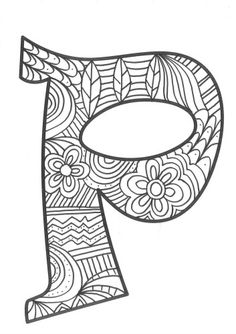 The super original mandaletras learn the alphabet - Educational Images Alphabet Symbols, Alphabet Design, Alphabet Art, Alphabet And Numbers, Easy Coloring Pages, Coloring Pages To Print, Doodle Lettering, Typography Fonts, Love Doodles