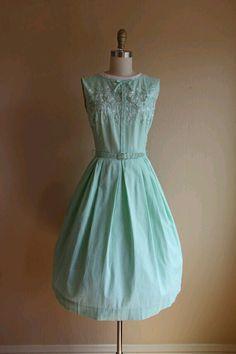 Mint embroidered vintage dress