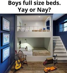 Bunk room ideas with beautiful bun beds for kid's, girl's and adult. Cool and creative built-in bunk beds ideas. Bunk room ideas that you want for your rooms. Bunk Beds Boys, Bunk Beds Built In, Bunk Beds With Stairs, Bunk Rooms, Boys Bunk Bed Room Ideas, Loft Beds, Twin Beds, Bunk Bed With Slide, Queen Bunk Beds