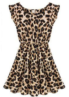 Time to let the #cat out of the bag. #Leopard Sleeveless Ruffles Pleated Chiffon Waist #Dress