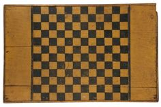 ANTIQUE PAINTED CHECKERBOARD - American Folk Art Game Board in the original black and yellow casein paint over pit-sawn pine, with applied edge, 29' x 18 1/2'. One bit of edging gone, nice age and use patina.