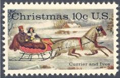 """1974_10_23 $.10 This contemporary Christmas stamp was designed by Stevan Dohanos using the Currier and Ives print """"The Road-Winter."""""""