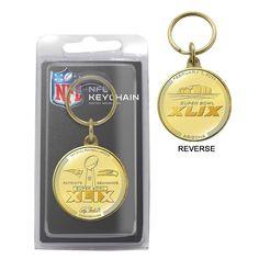 Super Bowl 49 Bronze Flip Coin Keychain