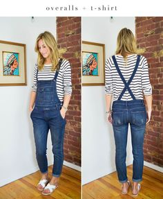 what tops to wear with overalls, how to style overalls, overalls outift, overalls and stripes