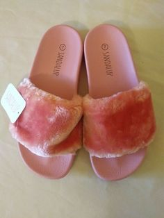 4037338ab929 Women s Pink Fuzzy Sandals SandalUp size 7  fashion  clothing  shoes   accessories
