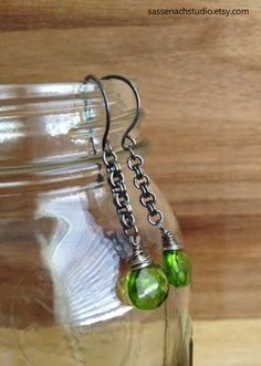 Green Quartz and Solid Sterling Silver Earrings by SassenachStudio
