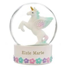Add a touch of magic to any room with this Personalised Unicorn Snow Globe This snow globe can be personalised with 2 lines of text with up to 20 Personalized Ornaments, Personalized Gifts, Holiday Emails, Bank Holiday, Happy 6th Birthday, Birthday Gifts, Unicorn Snow Globe, Unicorn Names