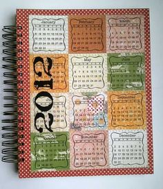 Tutorial - calendar stickers on chipboard - stitched around edges and bound with bind-it-all