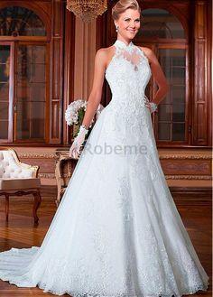 Robe de mariée décoration dentelle naturel col haut avec manche traîne panneau