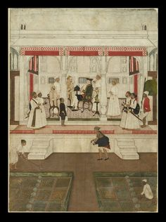 Company officer receives noblemen on a terrace, Murshidabad, 1760-1765