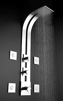 """Thermostatic Ski Shower         The ultimate in shower experiences is Graff's Thermostatic Ski Shower system. Including a full 8"""" square showerhead, with a 3/4"""" thermostatic valve, mounted on an eye-catching ski-shaped shower panel, and complete with directional flush-mounted body sprays, this shower set-up not only provides the latest in comfort and technology, but she'll have a tough time resisting your invitation to join you. Available in Polished Chrome and Steelnox Satin Nickel…"""