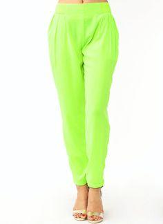Pleated-Lounge-Pants LIME NEONPEACH - GoJane.com