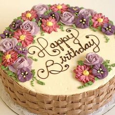 Beautifully simple basket weave cake and flower arrangement Cake Decorating Frosting, Cake Decorating Designs, Cake Decorating Techniques, Cake Designs, Cookie Decorating, Basket Weave Cake, Flower Basket Cake, Cake Basket, Basket Weaving