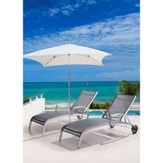 The Canyon Outdoor Chaise Lounge is made with an aluminum base and features your choice of a white or black water resistant textile cover that is made to withstand UV rays.