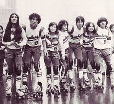 A photograph from the 60s of the Japanese roller derby team the Tokyo Bombers.